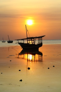 Lovely sunset in Zanzibar, where tourism is blooming.
